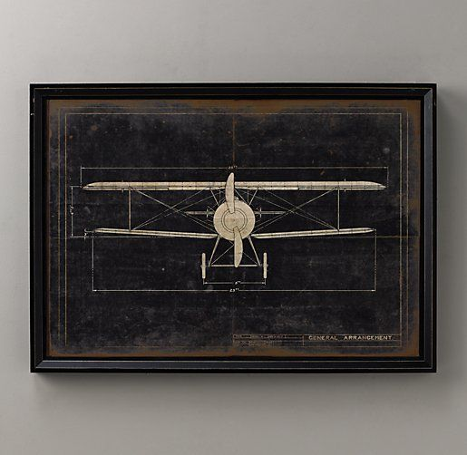 Model g airplane blueprint art restoration hardware baby child model g airplane blueprint front airplane wall artairplane malvernweather Gallery