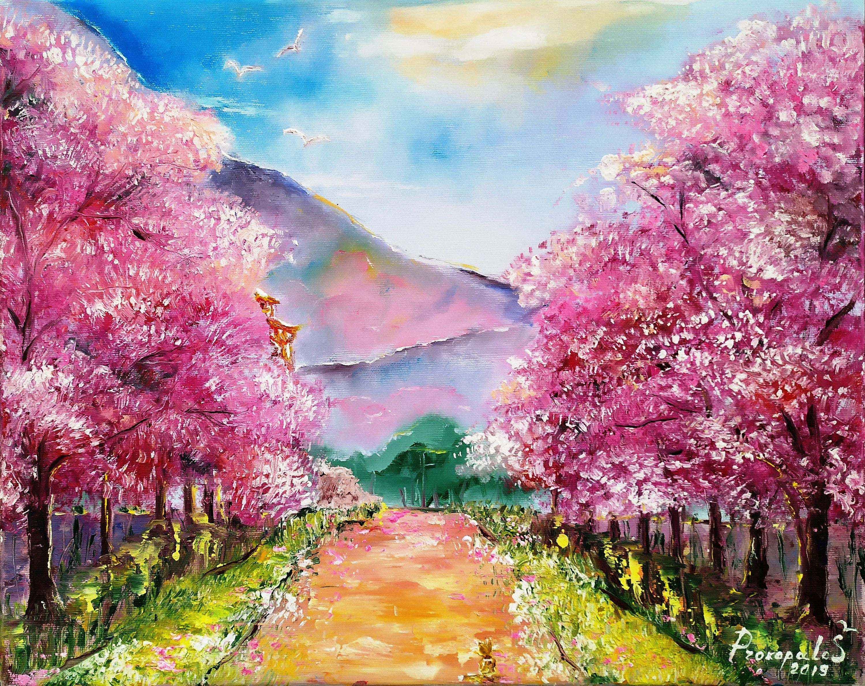 Sakura Painting Pink Original Art Oil Cherry Blossom Tree Landscape Japanese Wall Art Sakura Painting Cherry Blossom Painting Acrylic Abstract Floral Paintings