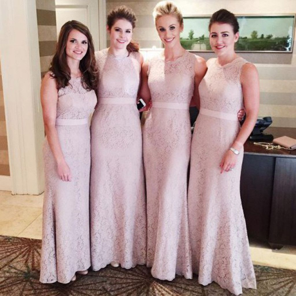 Flesh pink small round neck mermaid long lace bridesmaid dresses flesh pink small round neck mermaid long lace bridesmaid dresses bg51398 ombrellifo Images