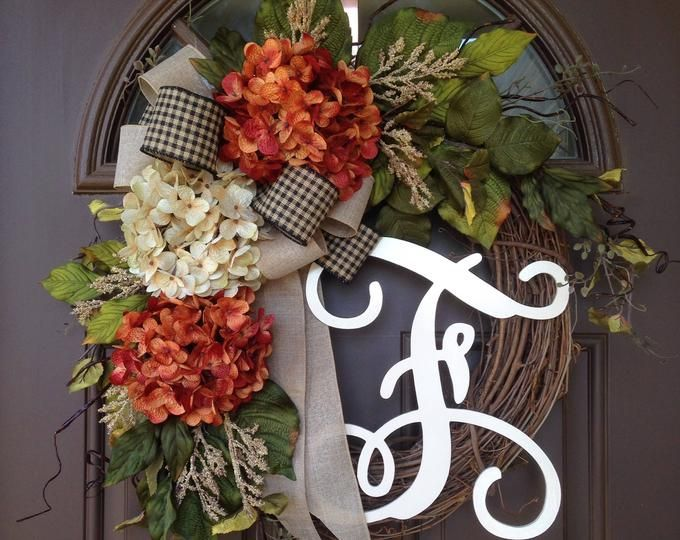 Photo of Spring Wreath for Front Door – Everyday Hydrangea Wreath with Monogram – Summer Grapevine Wreath with Initial – Housewarming Gift