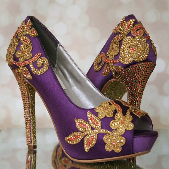 Custom Wedding Shoes    Plum Peep Toe Wedding Shoes With Gold And Coral  Crystal Hand Created Lace Design And Glittered Sole