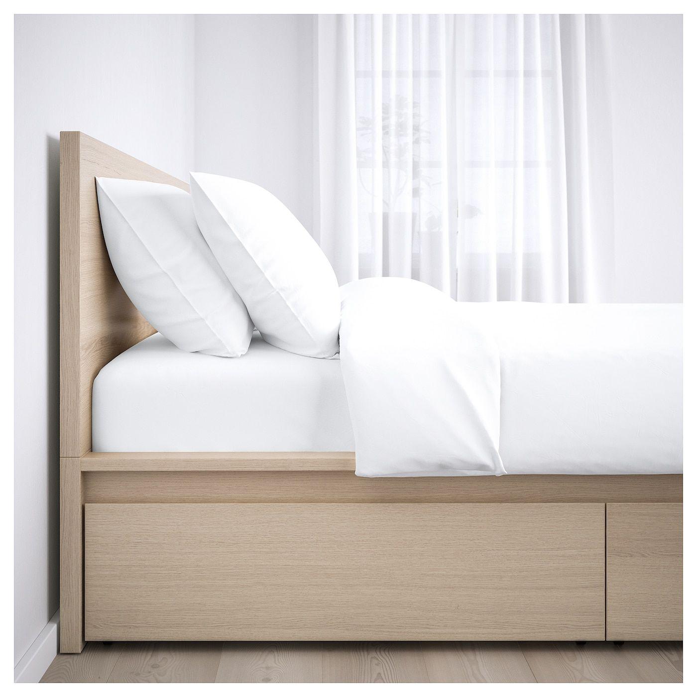 Malm Bettgestell Hoch Mit 4 Schubladen Eichenfurnier Weiss Lasiert Lonset Ikea Osterreich Malm Bed Frame High Bed Frame Malm Bed