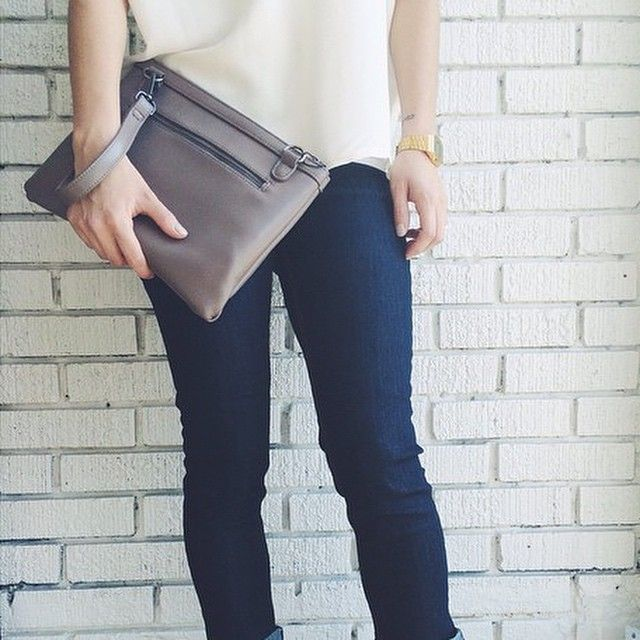 Another fabulous photo by @risque_clothing featuring the all new KYM-KOOL NU ESSEX folding clutch in Taupe! New this Spring also available in Black, & Navy. #shoplocal #shop #Toronto #Canada #supportlocal #Fashion #Vegan #New #clutch #smartideas #vegancompany #Style #love #Design