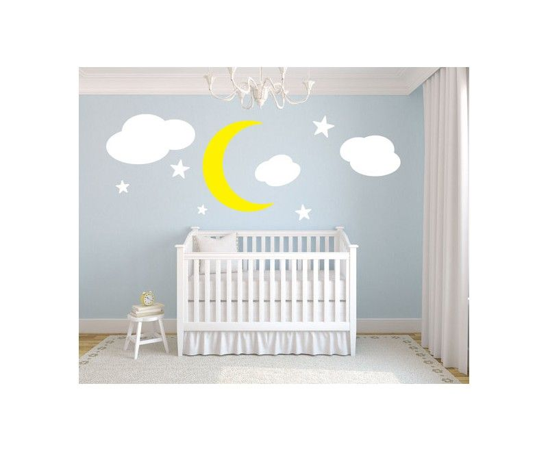 Moon Stars And Clouds Nursery Wall Decal Nursery Rooms - Nursery wall decals clouds
