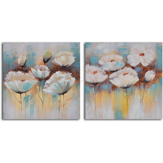 Hand painted Acrylic Painting set of 2  32 x 64 by WallArtDeco