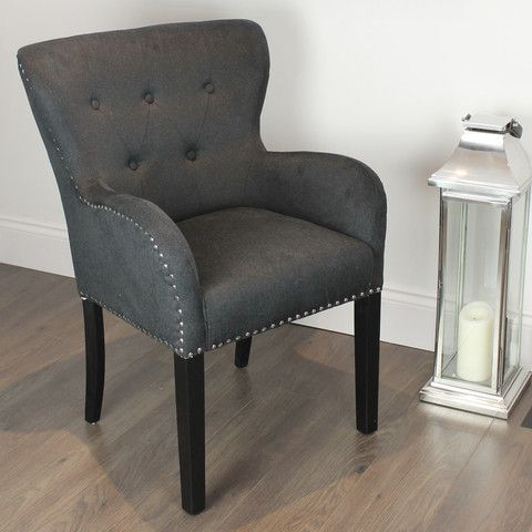 black studded dining chair with arms silver ring - Dining Room Chairs With Arms