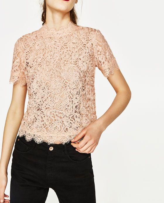 EMBROIDERED LACE BLOUSE - Lace | Tulle-TOPS-WOMAN | ZARA United States