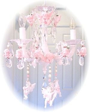 Medium pink cherub chandelier charms chandeliers shabby and image 1 of medium pink cherub chandelier charms mozeypictures Gallery