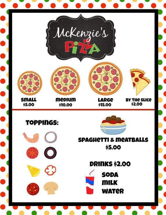 ffee748a0e4 Personalized and Printable INSTANT Download Dramatic   PRETEND Play  Pizzeria Parlor Download