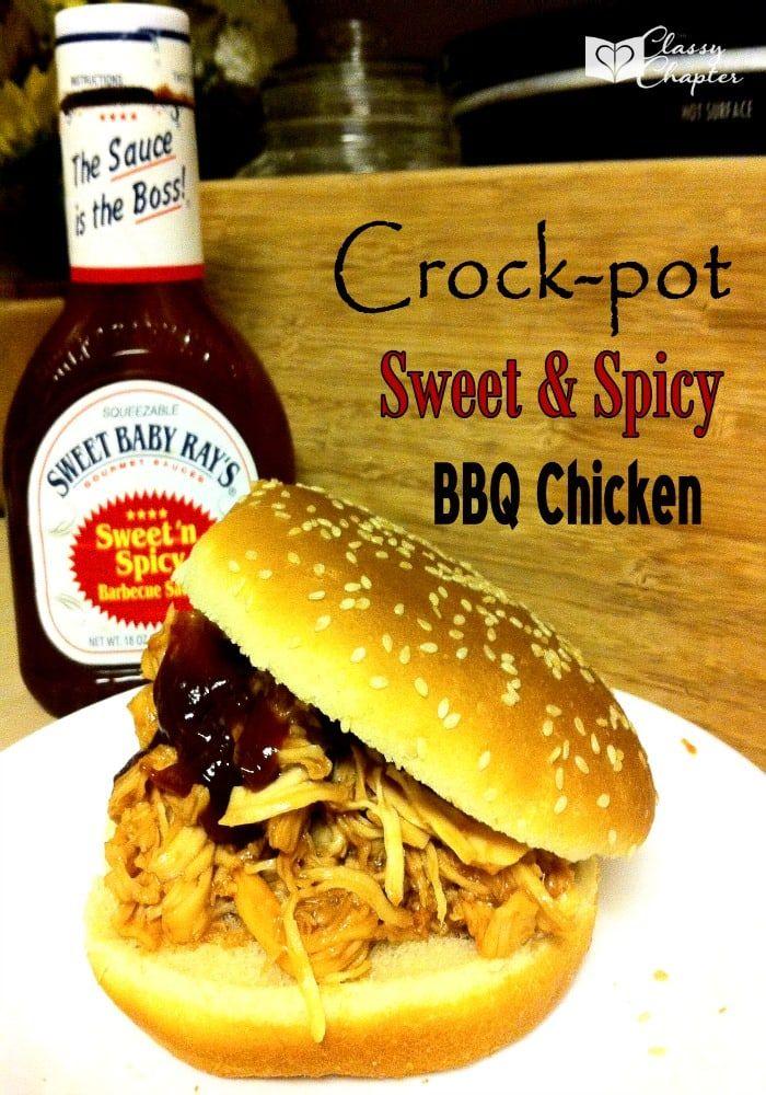 Crockpot Chicken Sweet Amp Spicy Bbq Chicken Crockpot Recipes Crock Pot Cooking Bbq Chicken