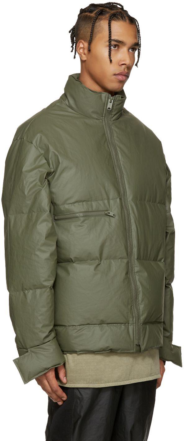 Yeezy Season 1 Green Waxed Cotton Down Puffer Ssense Mens Down Jacket Yeezy Outfit Yeezy [ 1412 x 592 Pixel ]