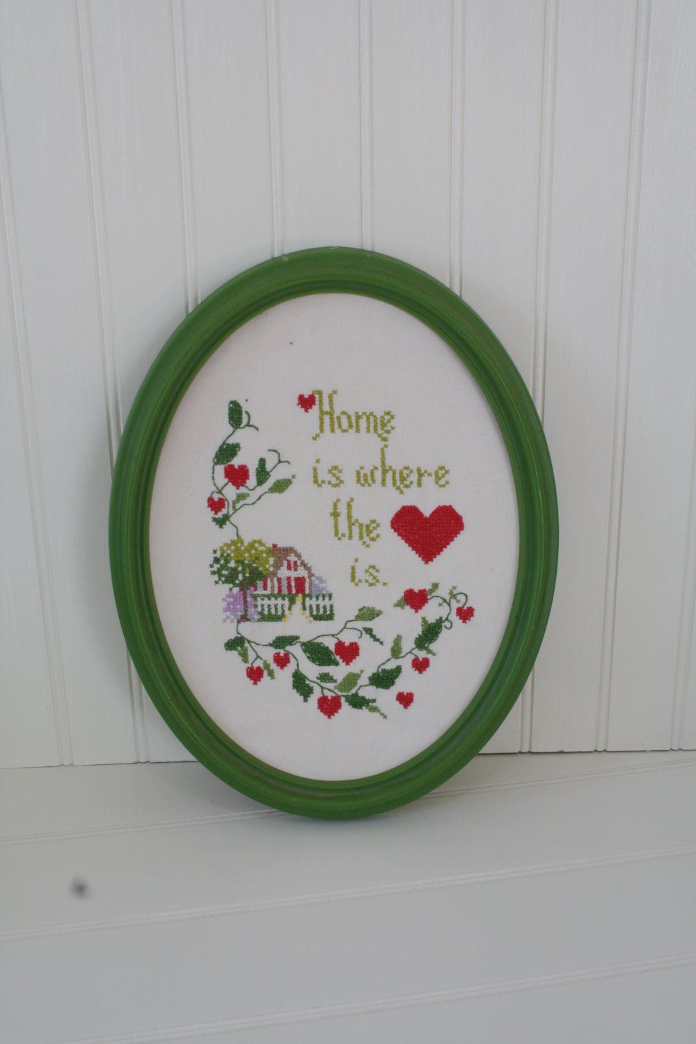 Sweet Little Needle Point 'Home is where the heart is', Vintage Home Decor by…