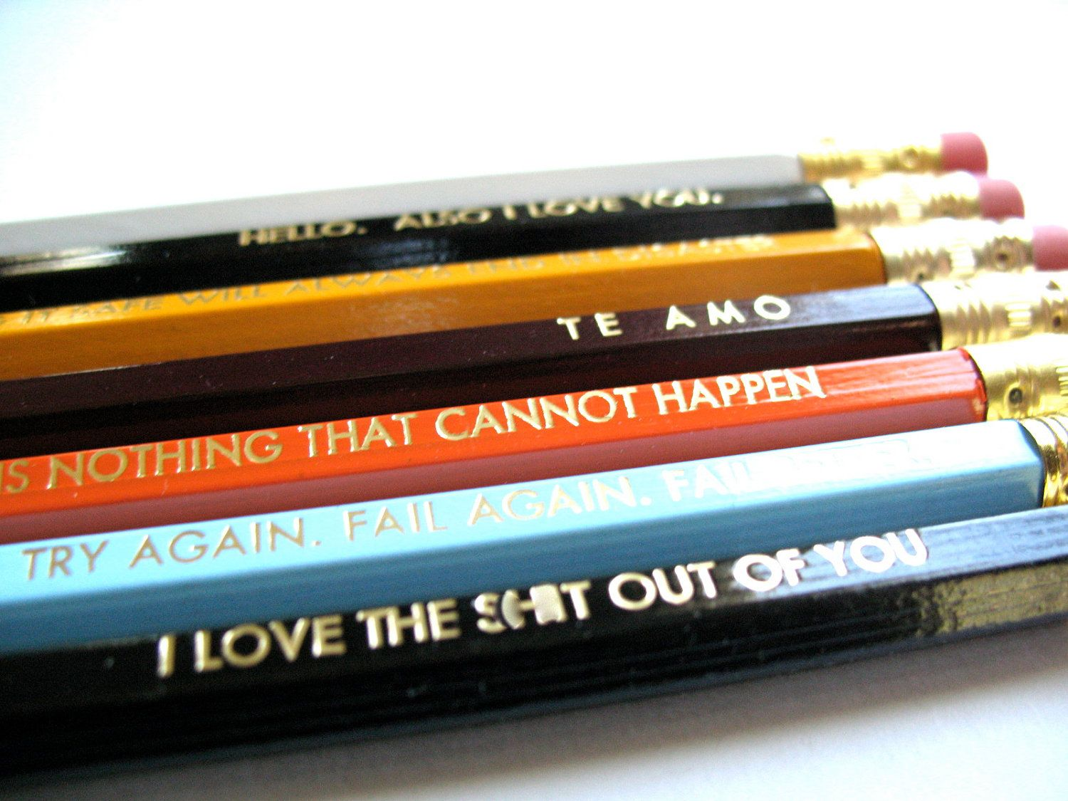 PENCILS 6 - Your selection of 6 GRAPHITE HEX pencils w/ a hand-stamped kraft pencil box. $11.00, via Etsy.