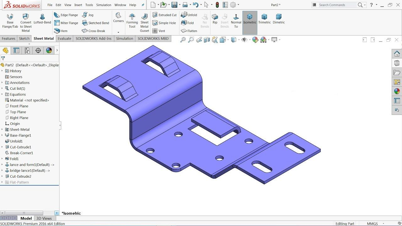 Solidworks Sheet Metal Forming Tool Exercise Youtube Solidworks Sheet Metal Solidworks Tutorial