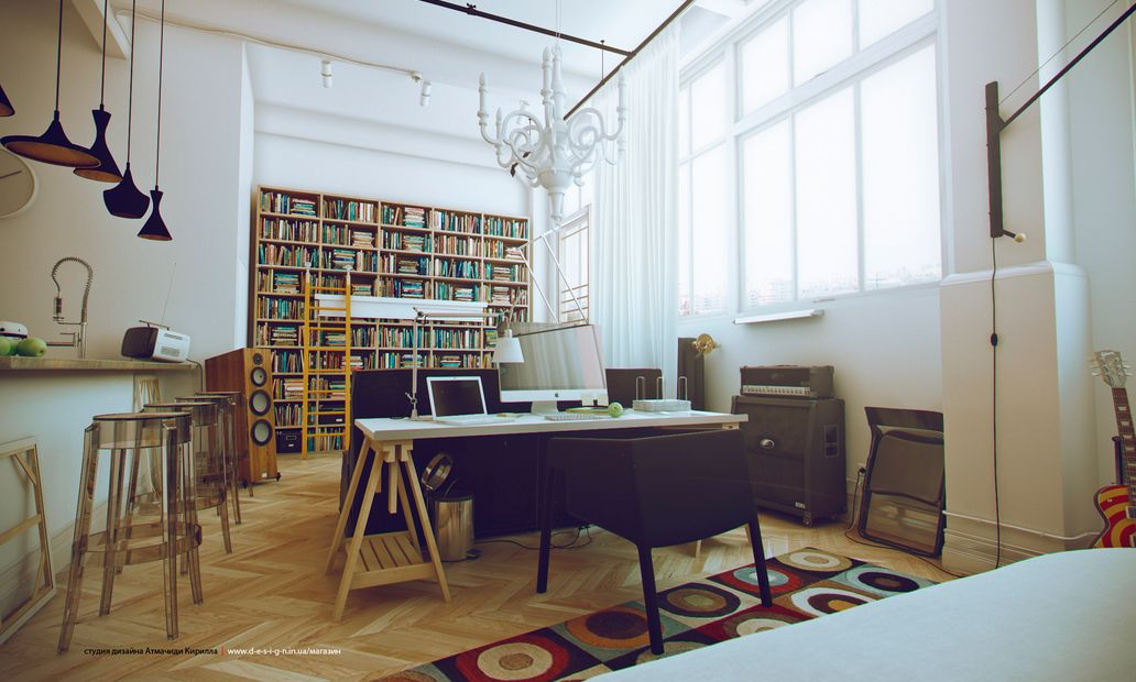 Inspiration Design Ideas For Studio Apartments: White Studio Apartments  Home Library Interior Design Ideas