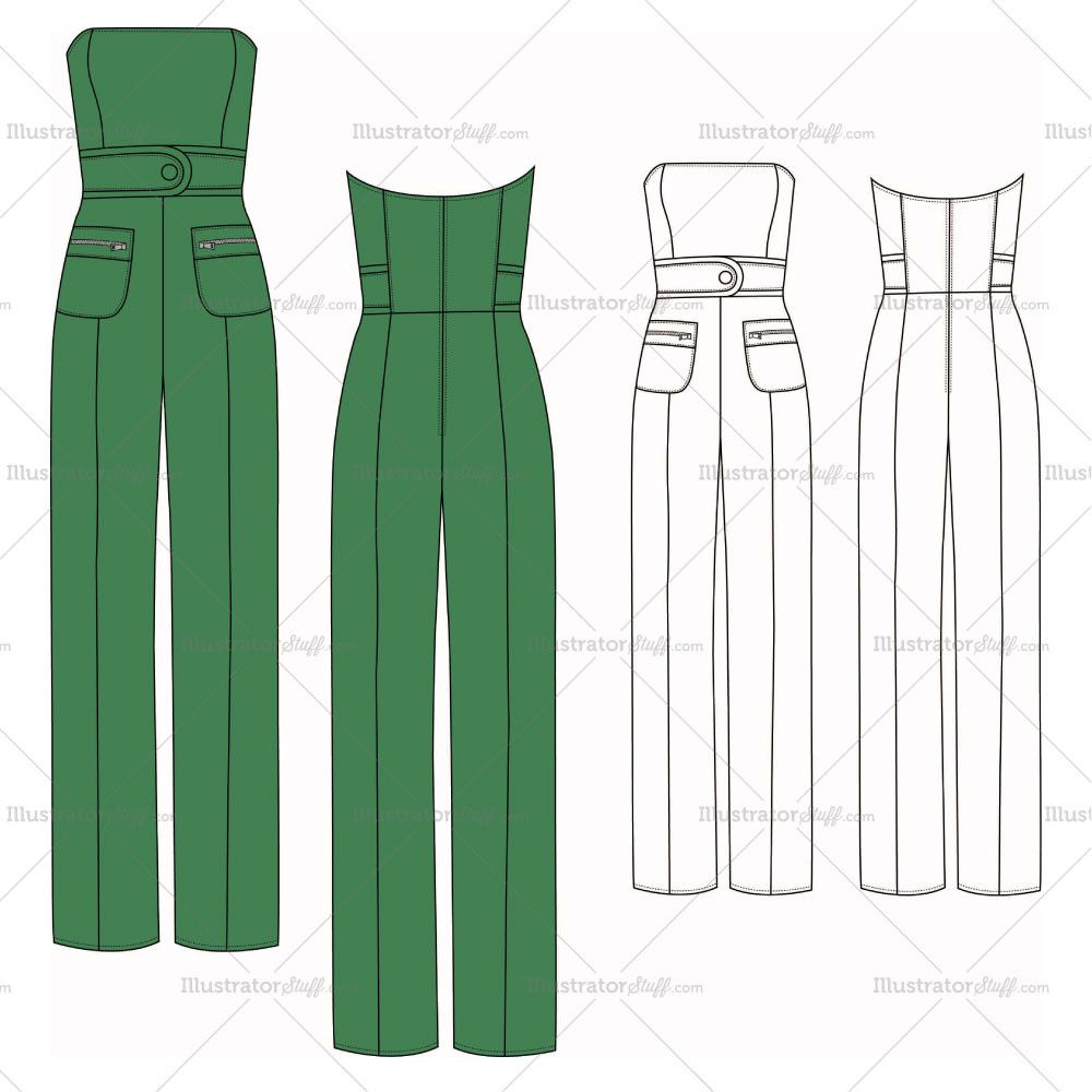 Women\'s Strapless Jumpsuit Fashion Flat Template | Fashion flats ...