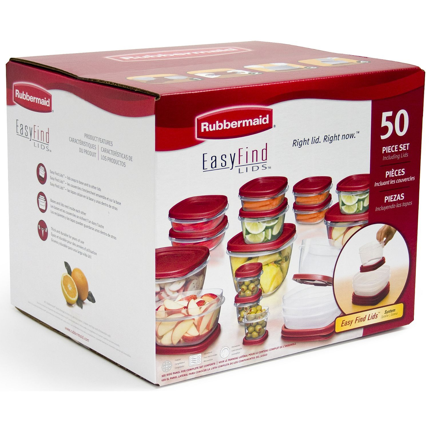 Rubbermaid 50 pc Easy Find Food Plastic Storage Containers Set Snap on Lids