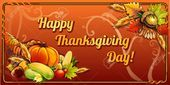 Happy thanksgiving day horizontal card on an orange background Illustration  Happy thanksgiving day horizontal card on an orange background Illustration