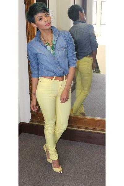 0918ba839 light yellow urbanoutfitters jeans - sky blue denim shirt | Stuff ...