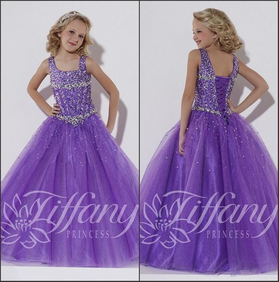 Beauty Pageant Dresses For Girls 2016 New Purple Scoop Neck Organza ...