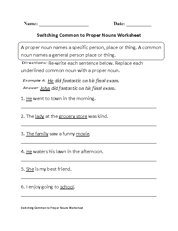 Proper And Common Nouns Worksheets Nice Collection Of