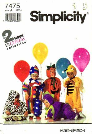 Simplicity 7475 Sewing Pattern Toddler Bee Dinosaur Dalmation Pumpkin Clown Costume Size 1/2 -  sc 1 st  Pinterest & Simplicity 7475 Sewing Pattern Toddler Bee Dinosaur Dalmation ...