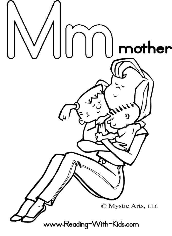 M Is For Mother Alphabet Coloring Pages