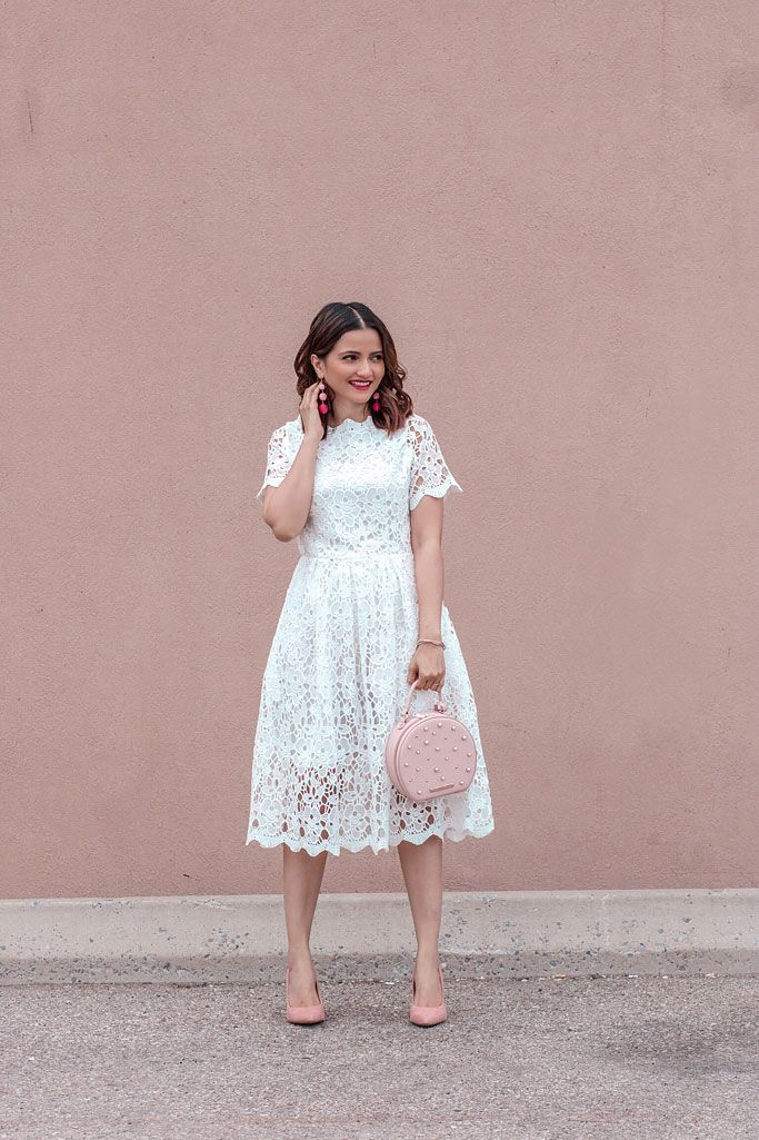 80852d115d23 Summer 2018 Cute Summer Dress Chicwish White Lace Dress Poppy and Peonies  Blush Darling Bag Blogger Outfit