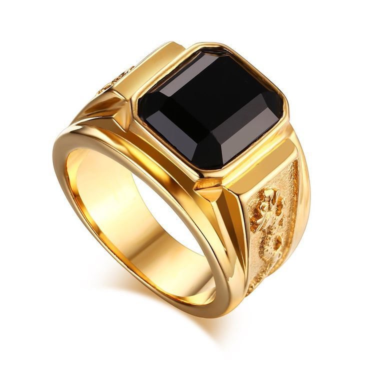 Men\'s Gold Plated Ring Black Large Agate Stone 316L Stainless ...