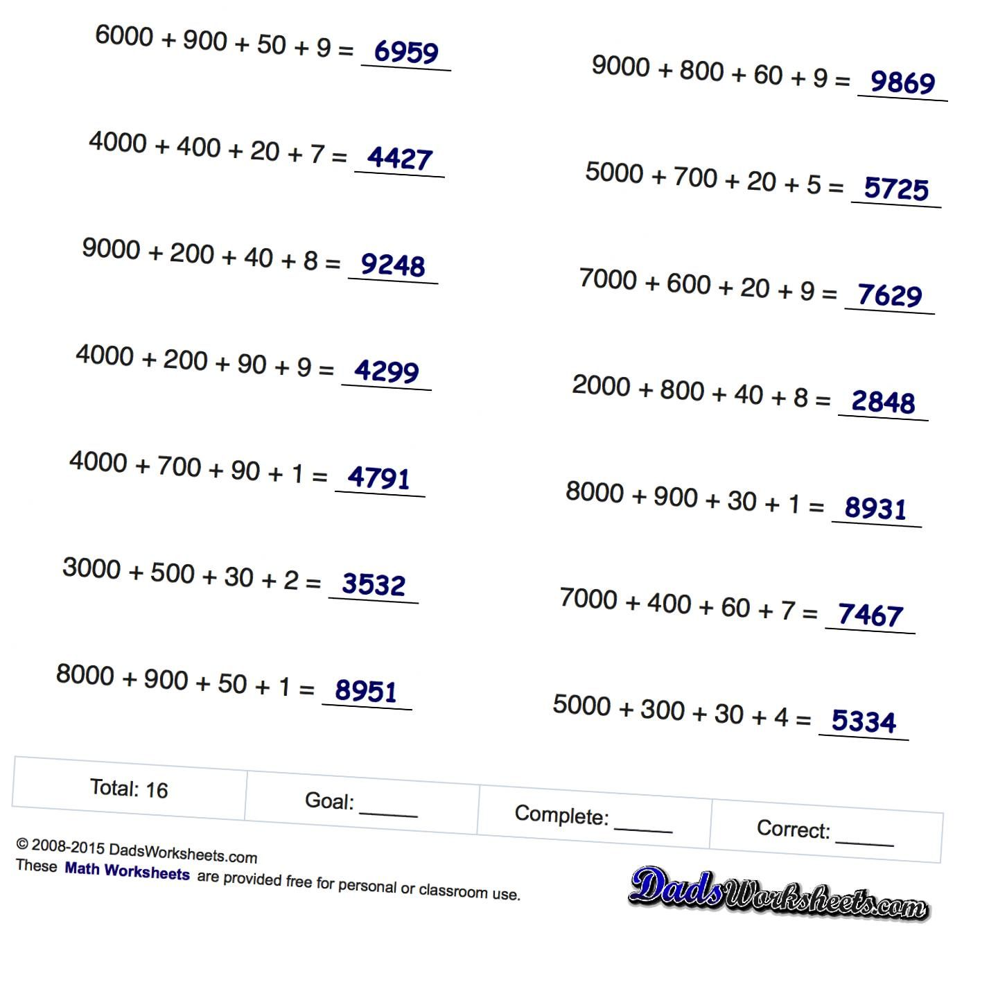 These Place Value Additon Sheets Are Good First Steps