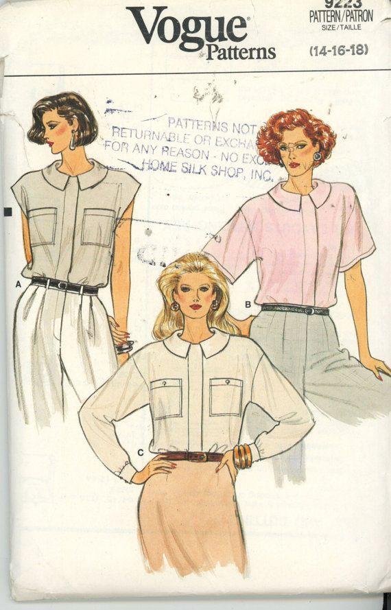 Misses Blouse Pattern Vogue 9223 Vintage Size 14-16-18 1985 UNCUT ...