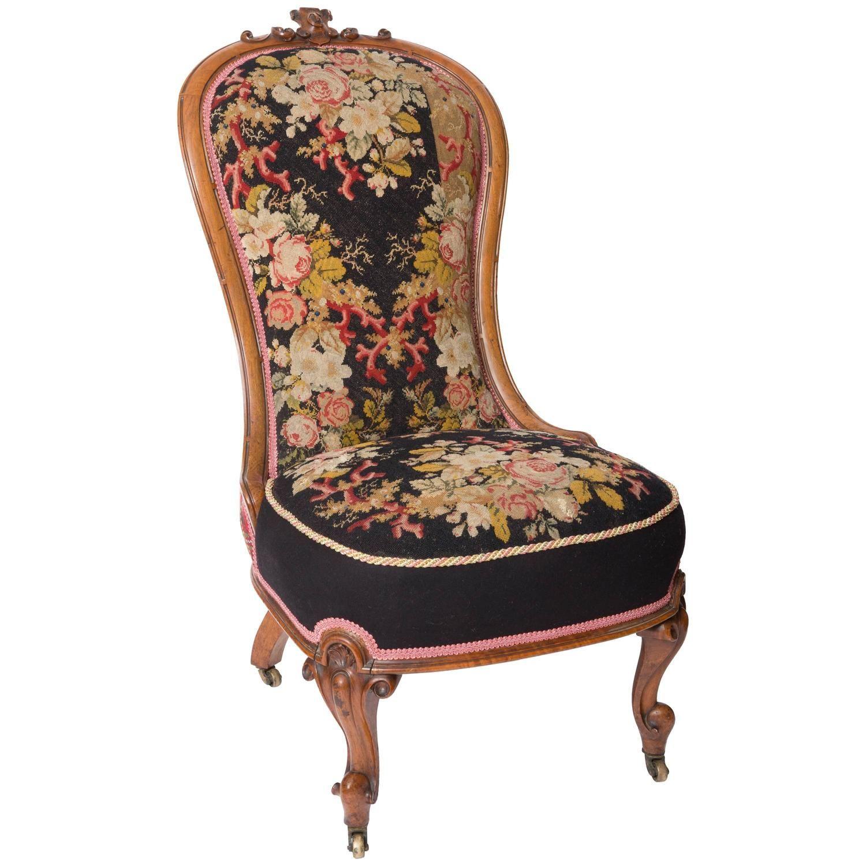 19th Century Needlepoint Upholstered English Slipper Chair - 19th Century Needlepoint Upholstered English Slipper Chair From A
