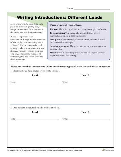 How To Write An Introduction Different Leads Worksheet Activity