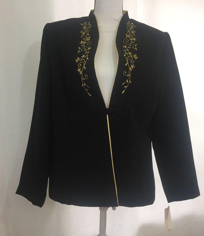 Miss Dorby Women S Suit Jacket Blazer Black Gold Trim Collar Size 12 New W Tags Missdorby Suitjacketblazer Suit Jackets For Women Black Blazers Blazer Jacket [ 1000 x 866 Pixel ]
