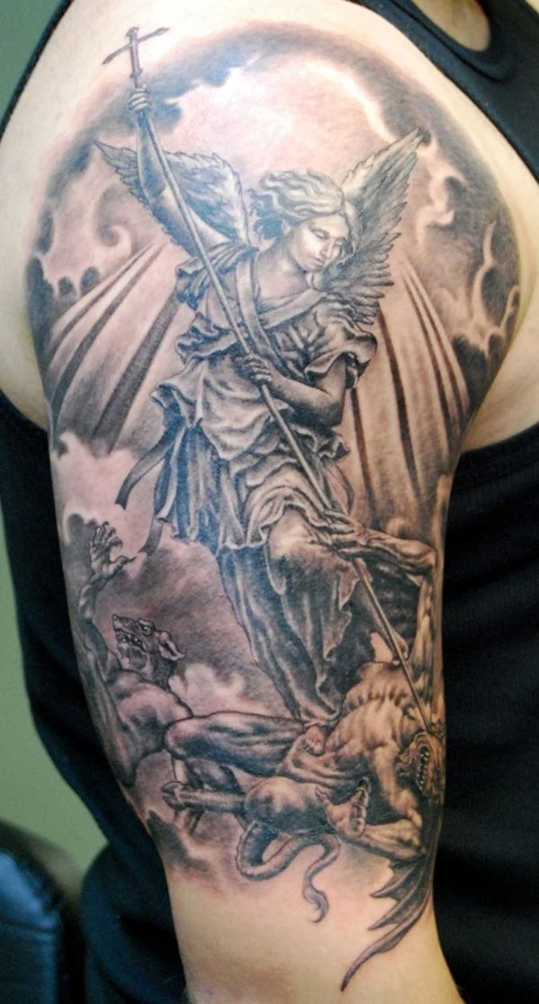 38deaca78 Angel .... fight with demon | Tattoos | Archangel tattoo, St michael ...