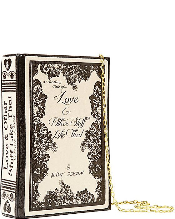 """A purse or clutch for the librarian in you! Betsey's shoulder bag is meant to look like a book, note the detailing on the """"spine"""" and """"cover..."""
