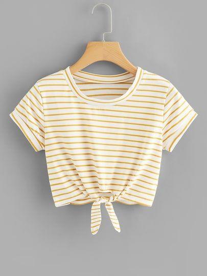 Crop T-Shirt mit Knoten vorn und Streifen - German SheIn(Sheinside) #cutecroptops