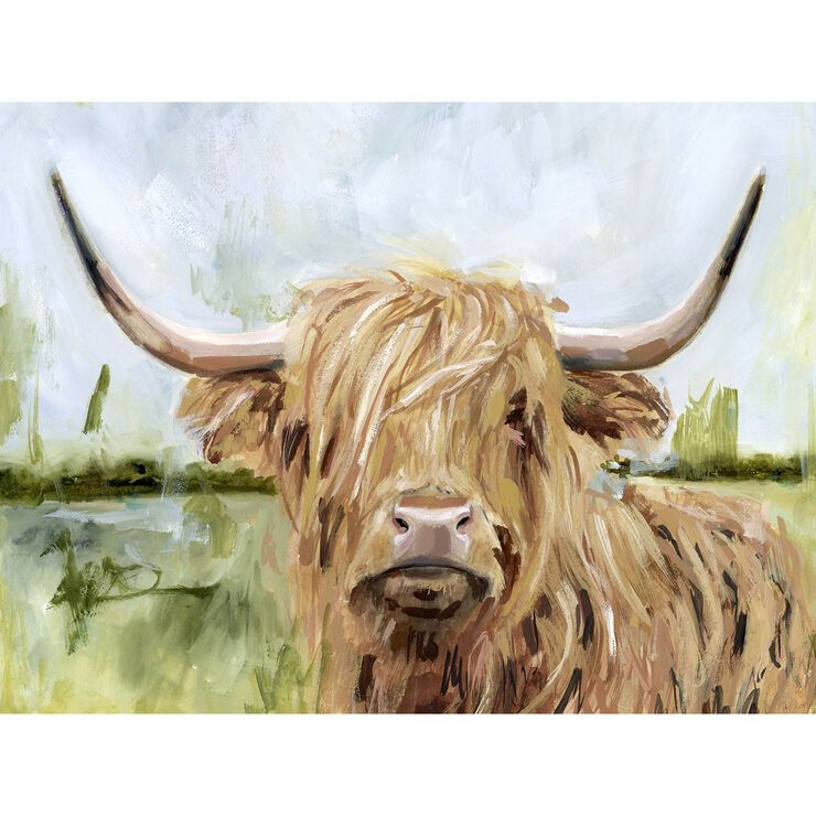Highland Cow On Canvas Wall Art 16 X 20 In 2020 Canvas Art Painting Art Painting Western Painting Canvas