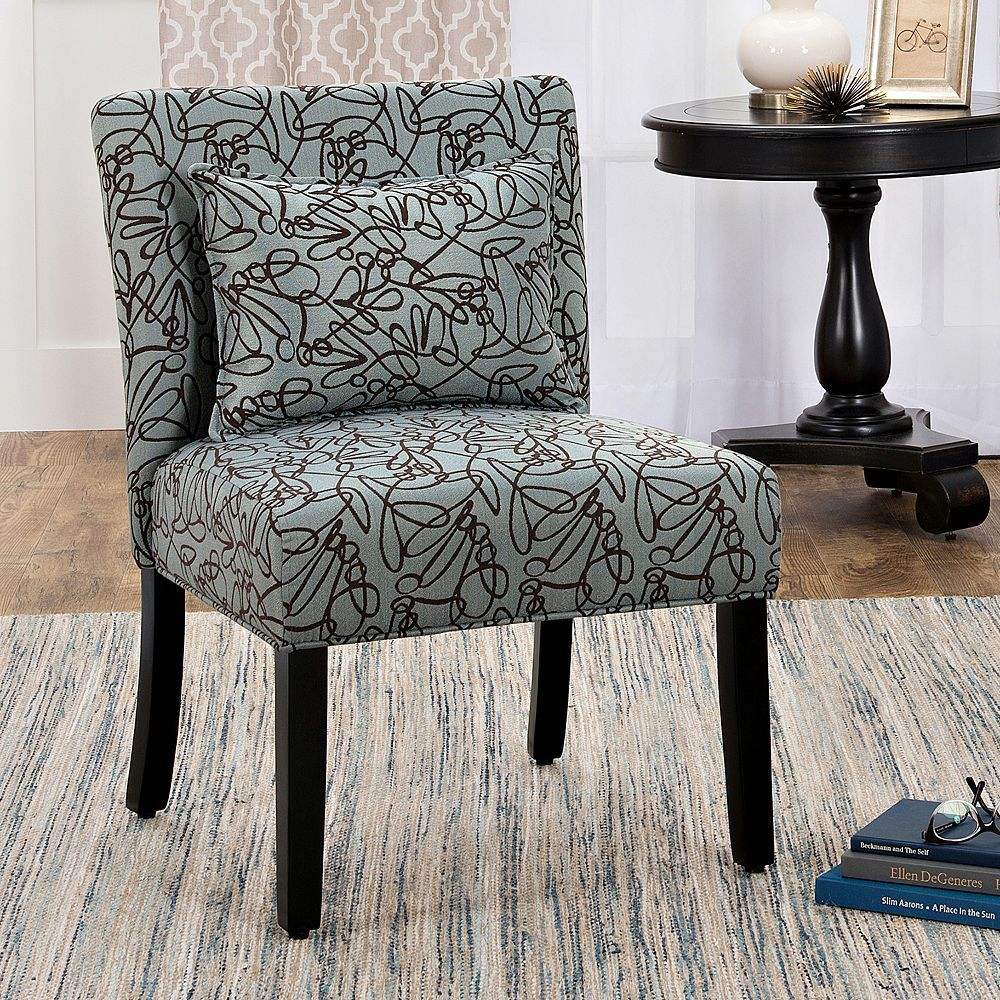 Homepop parker printed accent chair u pillow piece set blue