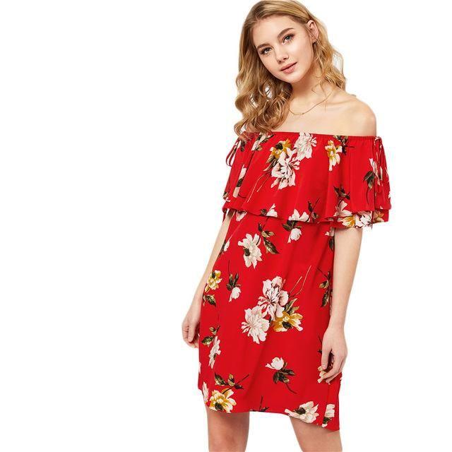 5e9a7d33d582 Red Floral Flounce Bardot Off Shoulder Short Sleeve Knot Shift Mini Dress  for just ₹1914.00.