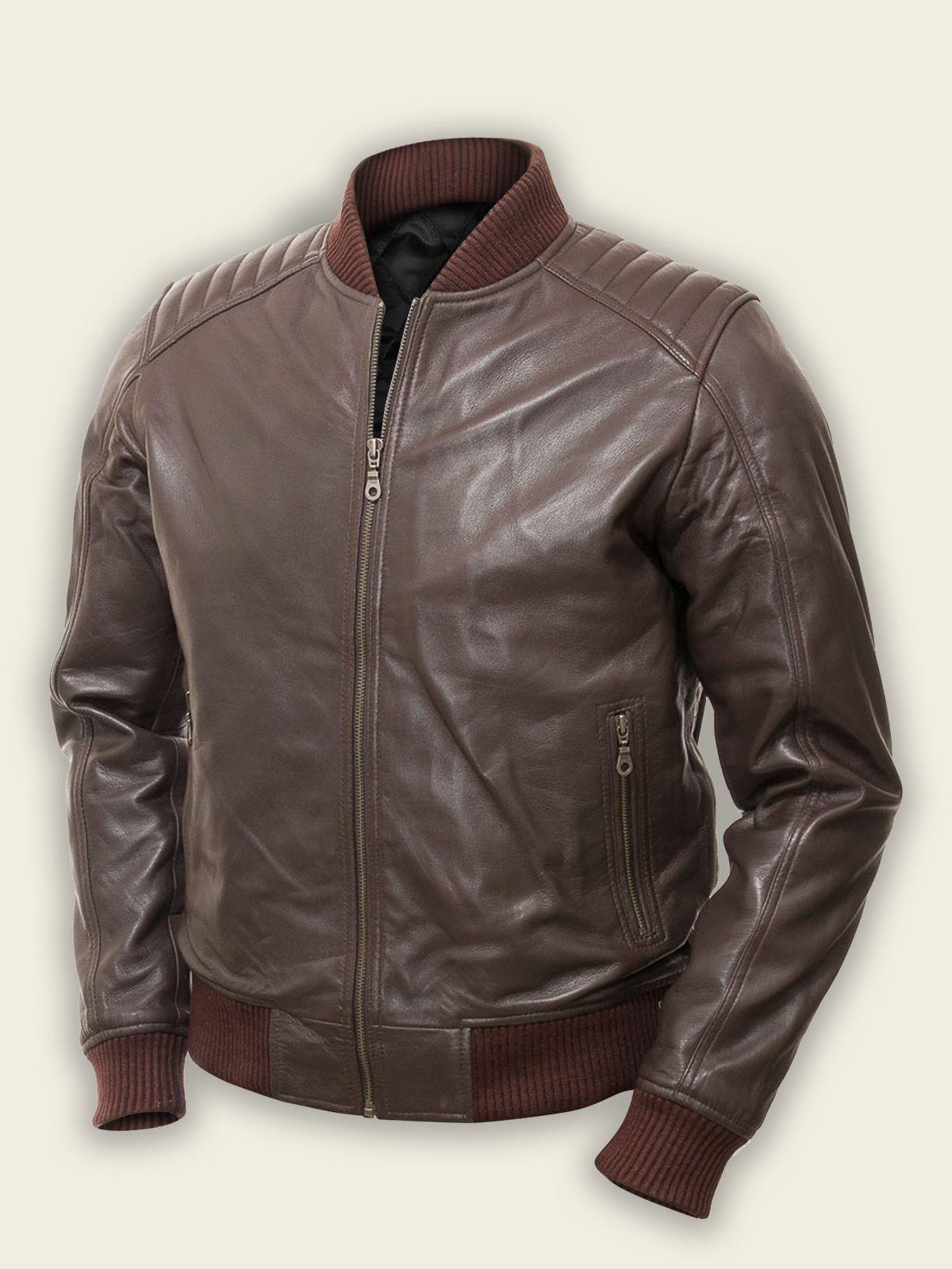 Men Dark Brown Bomber Jacket Mauvetree Brown Bomber Jacket Best Leather Jackets Leather Jacket [ jpg ]