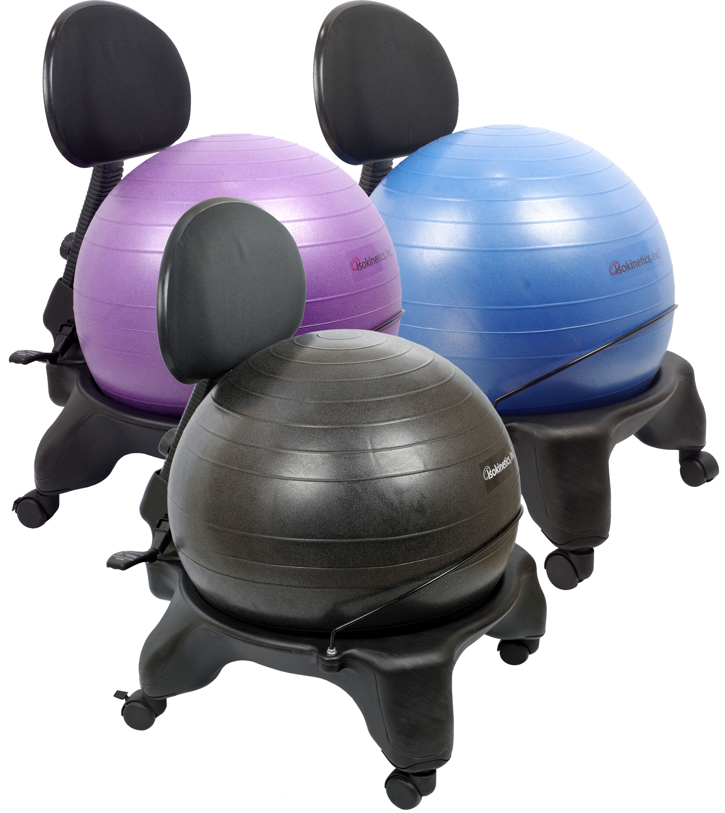 Isokinetics Inc Adjule Back Exercise Ball Office Chair With Size 60mm 2 5 Wheels