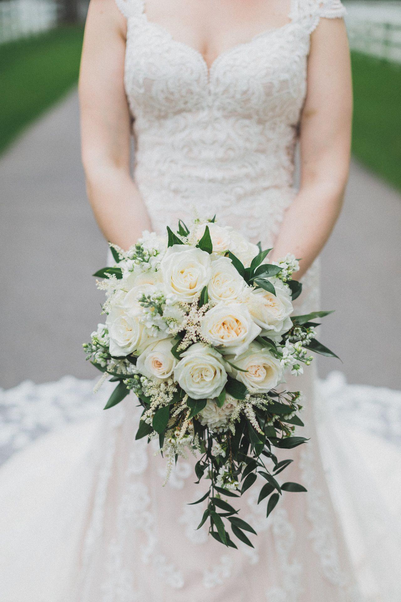White Rose Bouquet White Wedding Flowers Elegant Hanging Bouquet