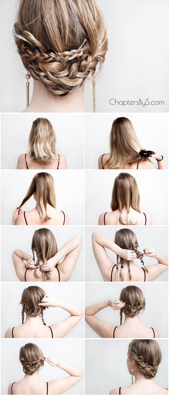 Casual Braided Updo For Medium Length Hair Thin Hair Shoulder Length Hair Chap Braids For Medium Length Hair Medium Length Hair Styles Medium Hair Styles