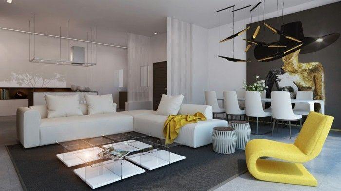 wanddesign ideen wohnzimmer essbereich ausgefallenes wandbild - wohnzimmer mit essbereich ideen