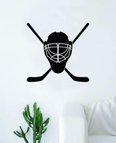 Hockey Goalie Mask Sticks Wall Decal Sticker Vinyl Art Bedroom Room Home Decor Quote Kids Teen Baby Boy Girl Nursery School Fitness Inspirational Ice Skate NHL