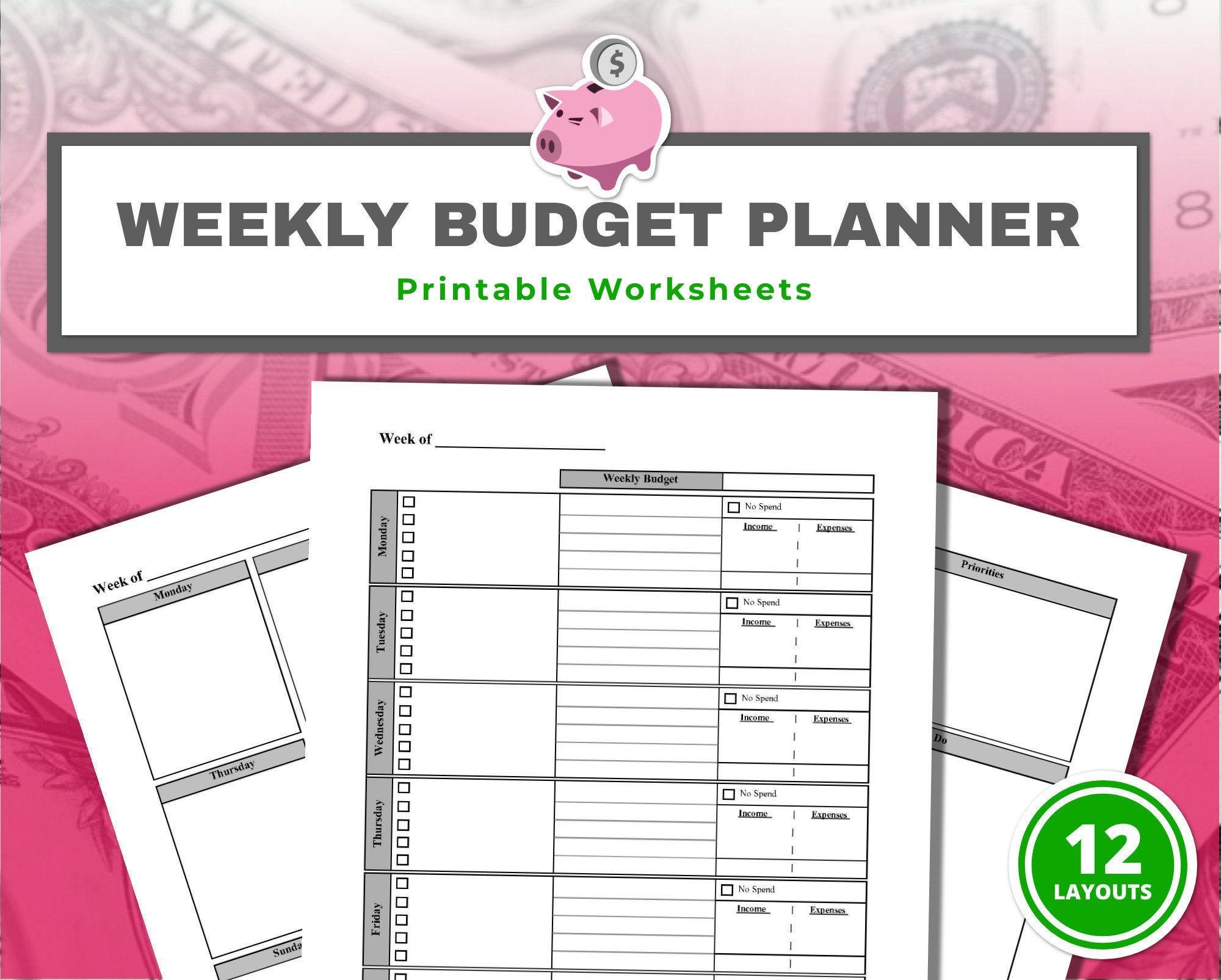 Weekly Budget Planner Worksheets 12 S Printable