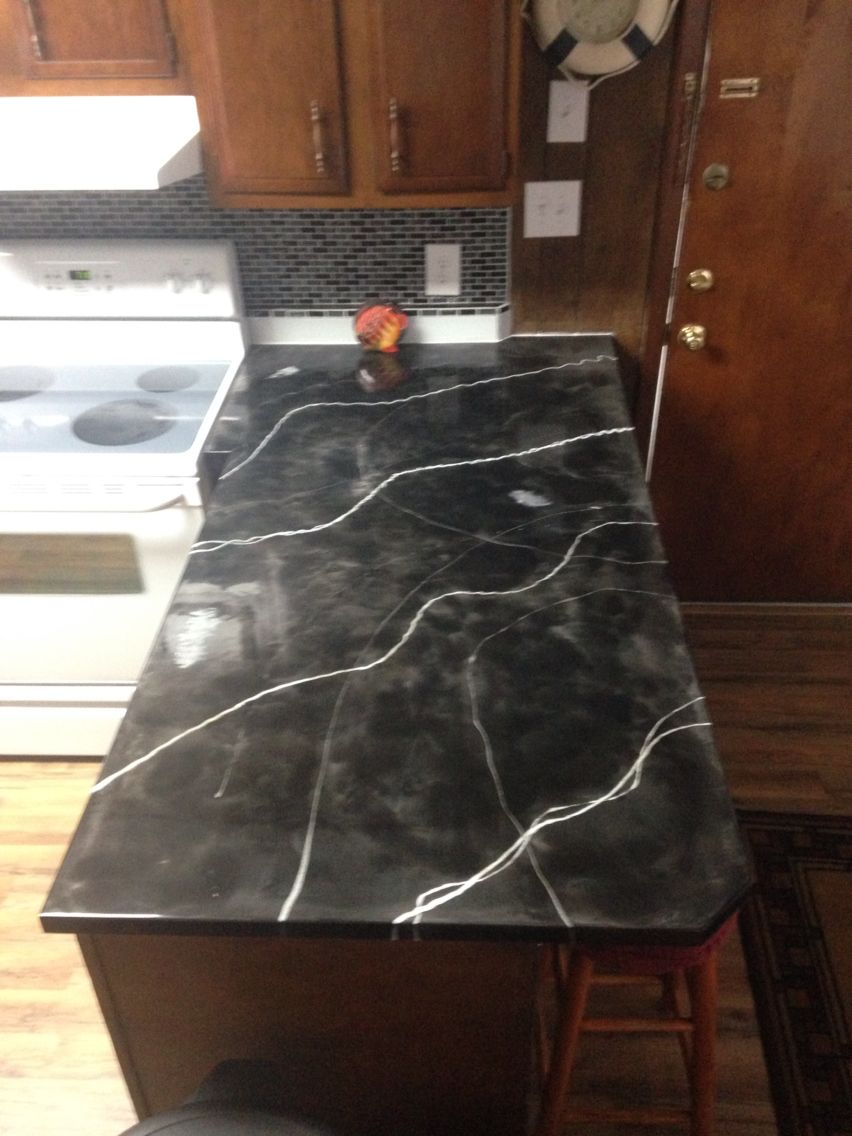 Cheap Way To Makeover Countertops Galaxy Black With White And Silver Veins Epoxy Countertops Epoxy Countertop Painting Countertops Countertops