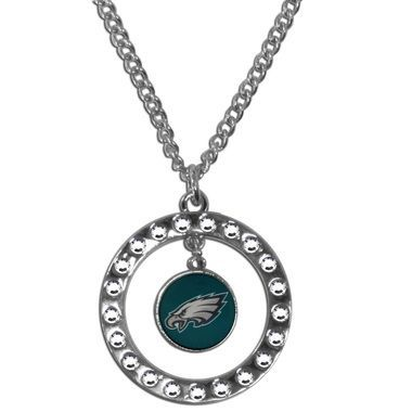 Philadelphia Eagles Rhinestone Hoop Necklace