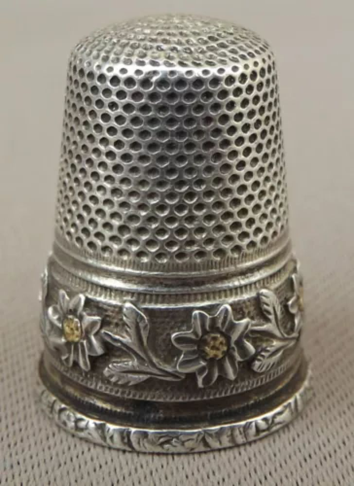 Antique French Daisy Flowers Band Sterling Silver Thimble Thimbles Antiques French Antiques